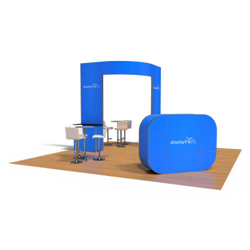 20' x 20' Rental Display with Oval Brand Carrier and Kiosks - Kit 35