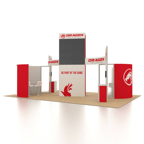 20' x 30' Rental Display with Curved Conference Rooms and LED Video Walls - Kit 01