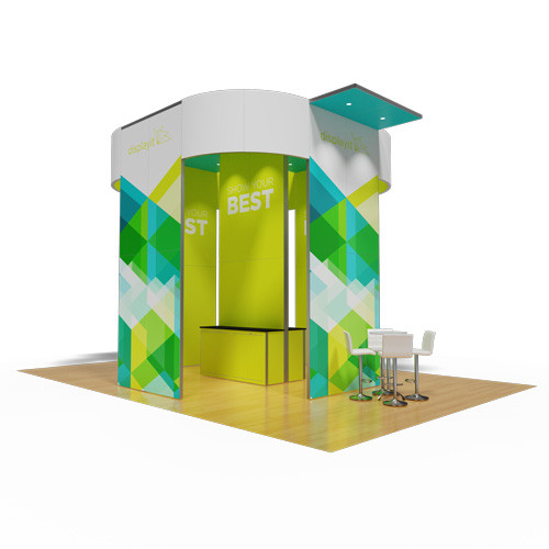 20' x 30' Rental Display with Curved Tower and Meeting Areas - Kit 02