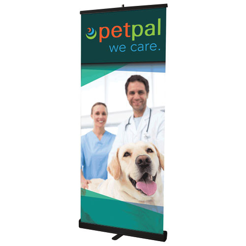 """33"""" x 83.5"""" Reveal Retractable Banner Stand with Black Hardware"""