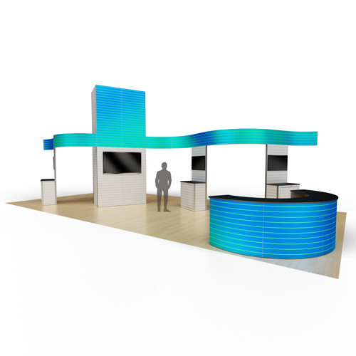 20' x 40' Custom Series Display with Kiosks and Curved Banners - Kit 01