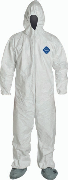 Dupont Tyvek 400 Coveralls, TY122SWH, w/Respirator Fit Hood, Elastic Wrists and Boots - Large **Free Shipping**