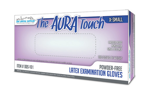 DDS Dental Supplies - Aura Touch Powder Free Latex Copolymer, Textured Examination Natural Gloves - X-Small