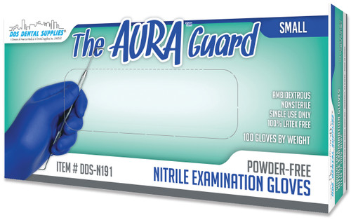 DDS Dental Supplies - Aura Guard Powder Free Nitrile Premium Fully Textured, Blue Exam Gloves - Small