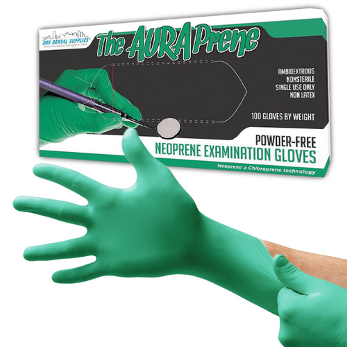 DDS Dental Supplies - AuraPrene Powder Free Neoprene Examination Green Gloves - Medium