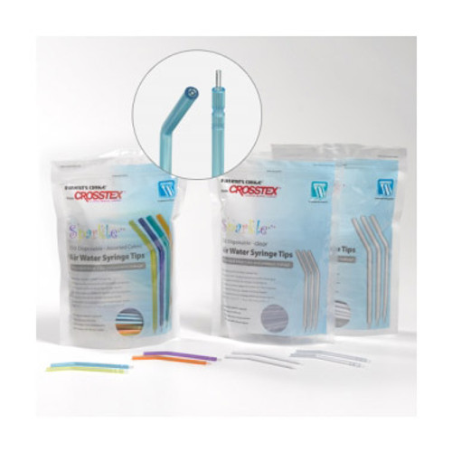 Crosstex - SPARKLE DISPOSABLE AIR WATER SYRINGE TIPS - Clear