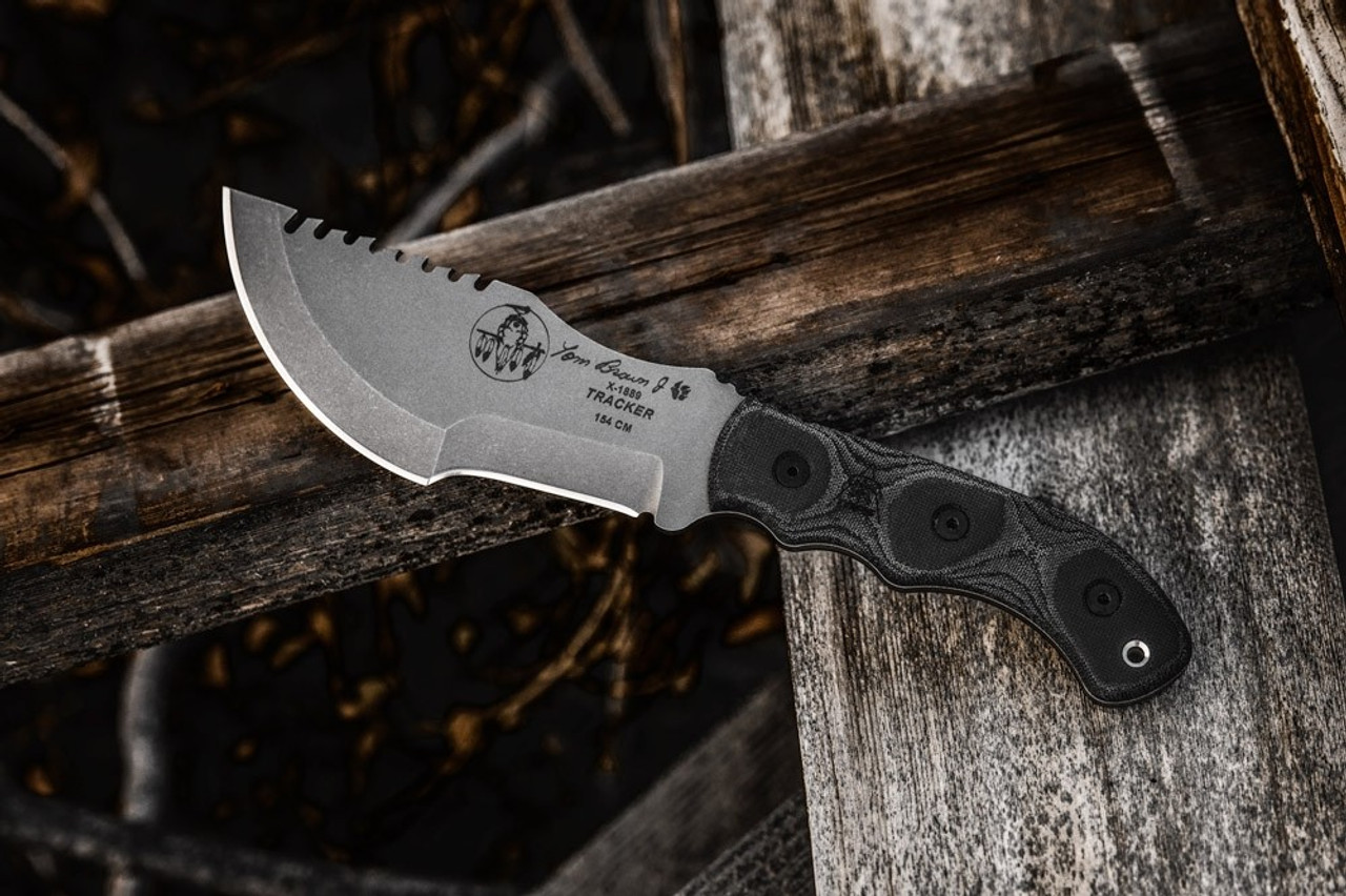 Tops Knives Tptbt 031 Tom Brown Tracker 3 Fixed Blade Stainless Steel Knife W Black Linen Micarta Handle