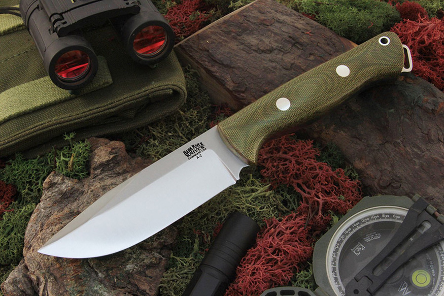 Bark River Knives: Bravo Squad Leader Fixed Blade Knife w/ Green Canvas Micarta Handle
