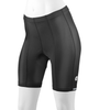 Front view of 8 panel anatomical bike shorts for women