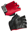Red and Black - Cycling Gloves in Leather and Spandex