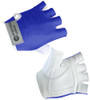 Blue and White Cycling Gloves in Leather and Spandex
