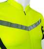 Men's High Vis Reflective Pace Cycling Jersey Safety Yellow Front Chest Detail
