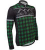 Aero Tech Long Sleeve Brushed Fleece Lumberjack Cycling Sprint Jersey Green Off Front View