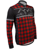 Aero Tech Long Sleeve Brushed Fleece Lumberjack Cycling Sprint Jersey Red Off Front View