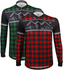 Aero Tech Long Sleeve Brushed Fleece Lumberjack Cycling Sprint Jersey Green and Red Front Icon