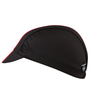 Side view of black and red cycling cap