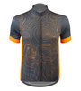 Aero Tech Sprint Jersey Topo Print Gray and Orange Front View
