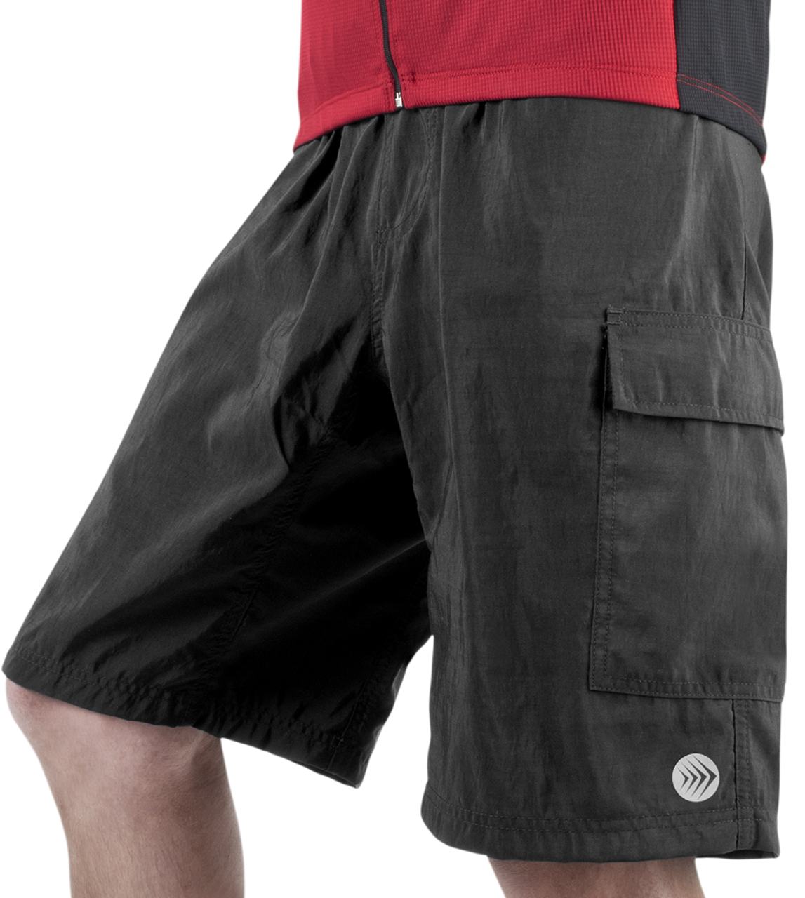 733ea5a74 Cargo Mountain Bike Shorts with Padded Underliner Black Front View