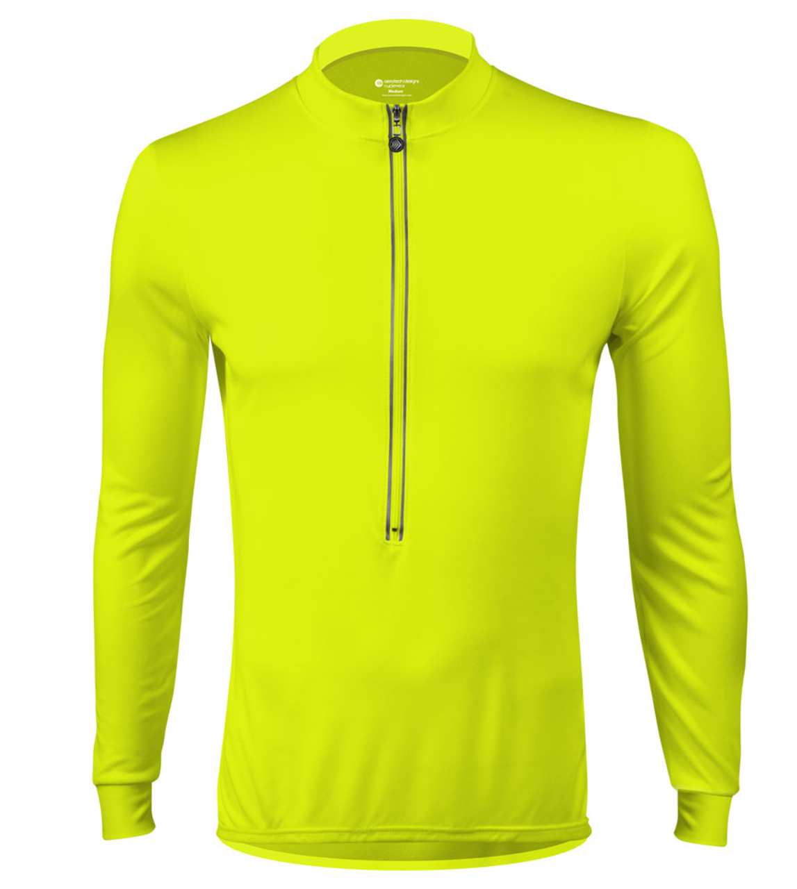Aero Tech Long Sleeve Cycling Jersey High Visibility Safety Yellow Front  View ab3422655