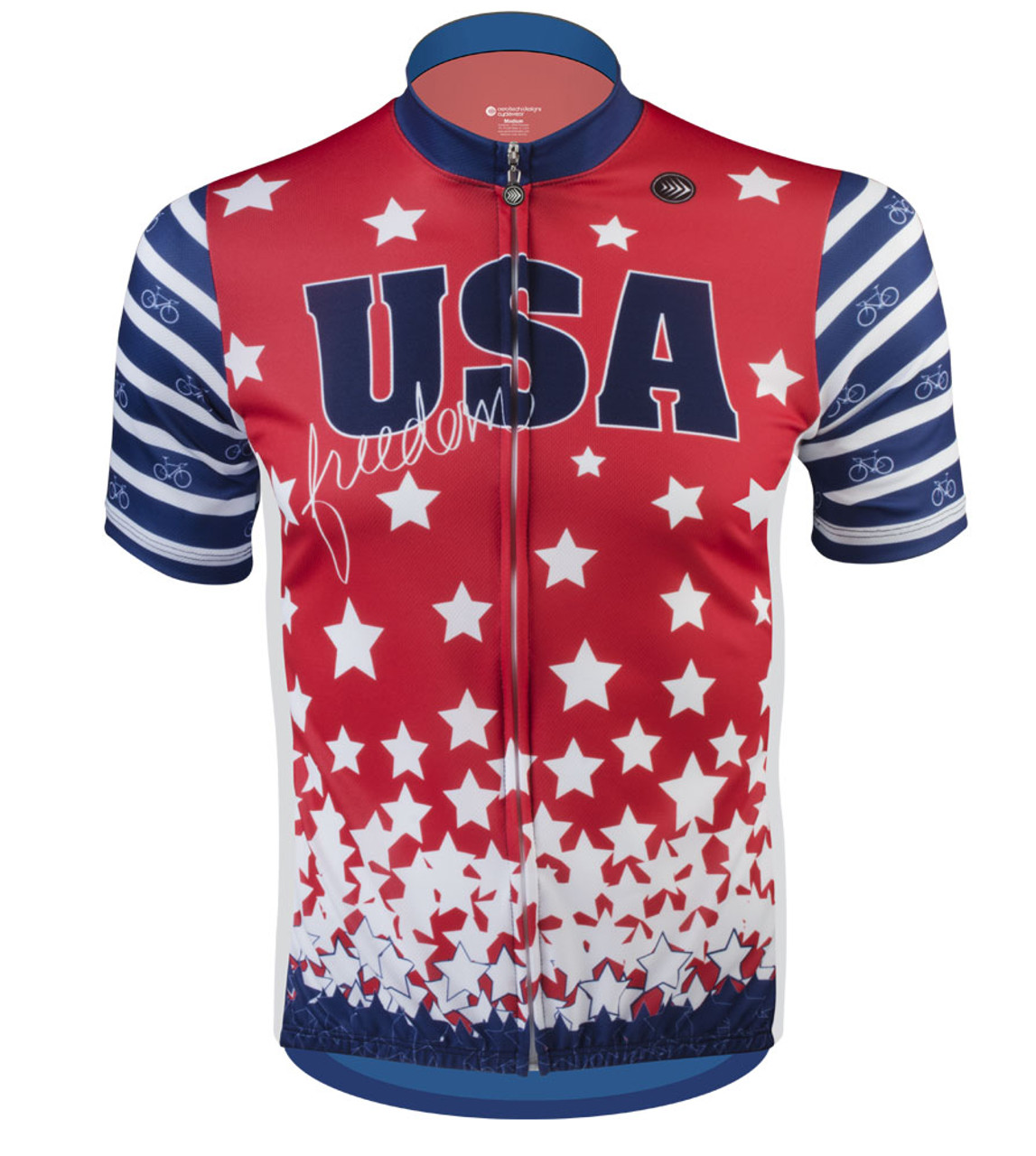 d83706d6e75 USA Made Stars and Stripes Patriotic Red White Blue Cycling Jersey