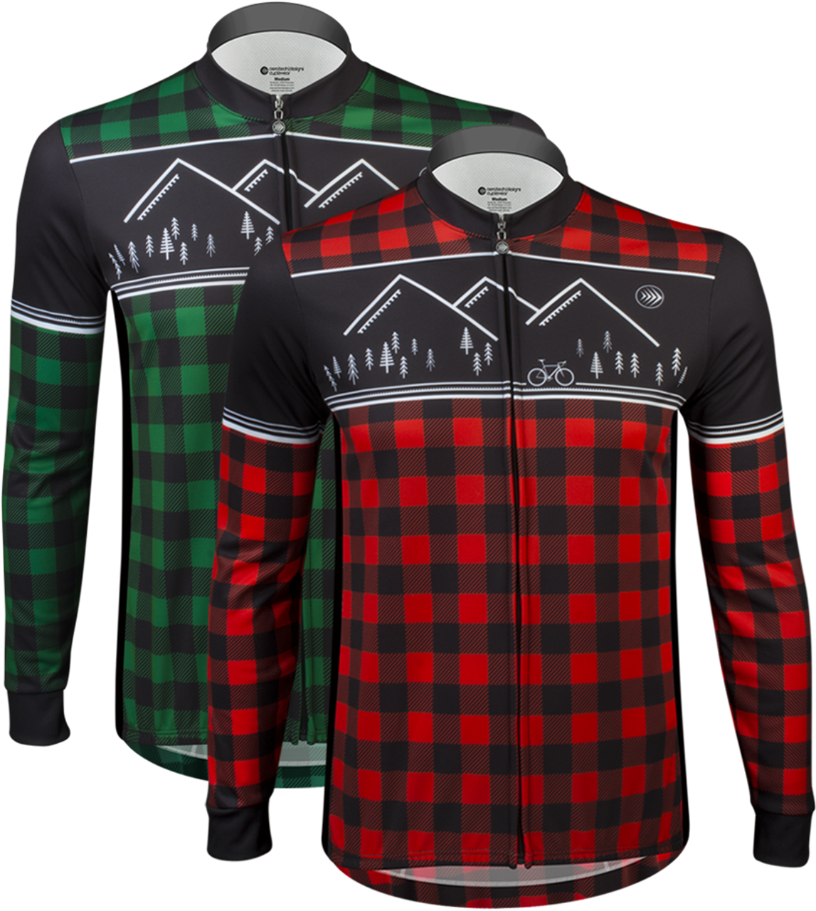 Aero Tech Long Sleeve Brushed Fleece Lumberjack Cycling Sprint Jersey Green  and Red Front Icon 8008e695d
