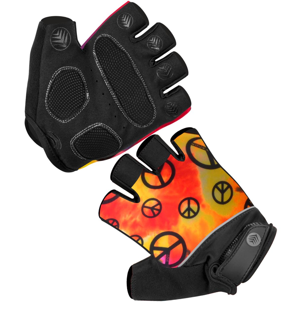 Aero Tech Peace Sign Gel Fingerless Gloves w Wild Print Padded Palms