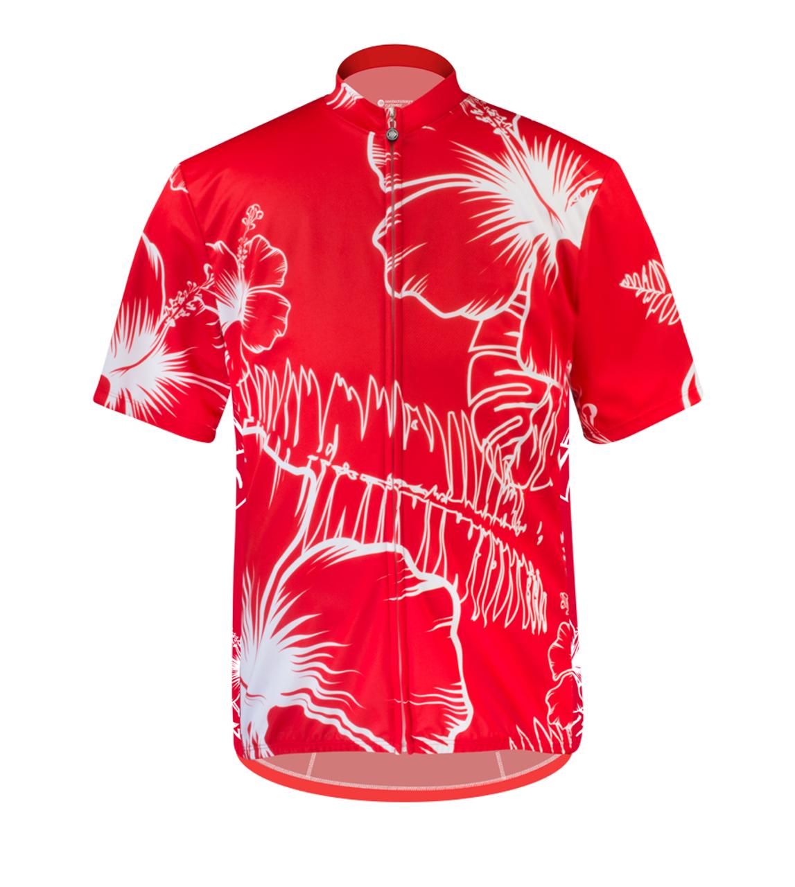 Aero Tech Big Man s Kahuna Cycling Jersey in Red Hawaiian print e53c62a84
