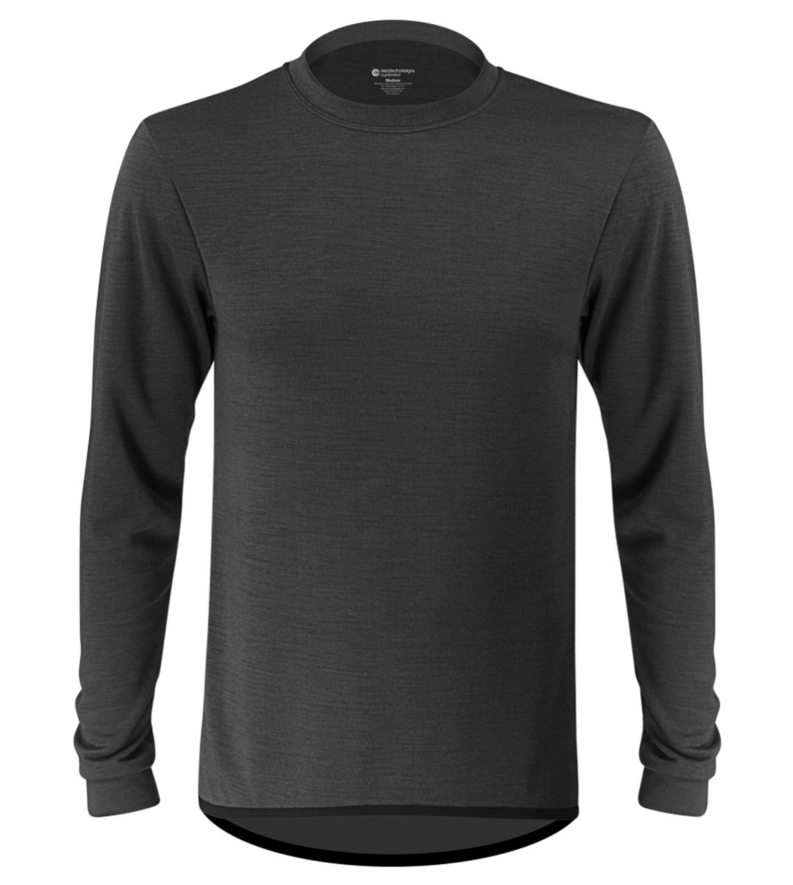 7dc1dead5c0aa Aero Tech Men's Merino Wool Base Layer in Charcoal Front View