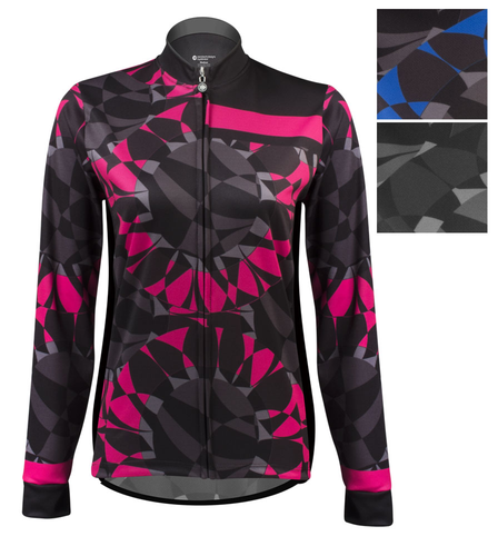 Aero Tech Women s Empress Long Sleeve Jersey - Mosaic - Brushed Fleece -  Printed Thermal Cycling Jersey - USA Made 48391137a