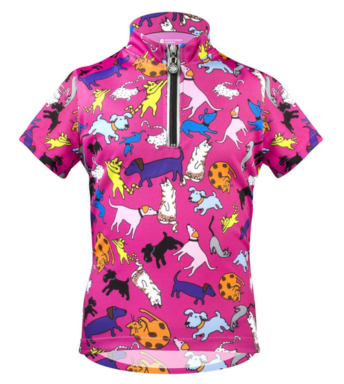Aero Tech Youth Designer Cycling Jersey - It's Raining Cats and Dogs PINK