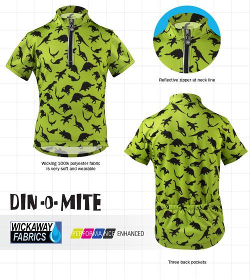 e27c42b7569 Din-O-Mite Kids Green Dinosaur Cycling Jersey by Aero Tech Designs