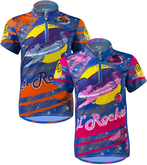 34aad42170a Aero Tech Youth Jersey - Lil Rockets - Orange Pink - Cycling Jersey Blast  Off On Your Bike!