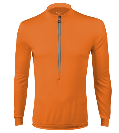 ... Aero Tech Wicking Long Sleeve Cycling Jersey Orange Front ... 951165b6d
