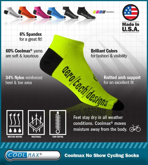 de52e79ed46e0d No Show Cycling and Running socks - Mutli-Color CoolMAX USA Made