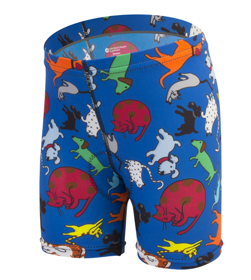 Children's cats and dogs spandex print bike shorts