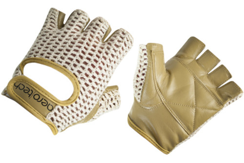 Aero Tech Youth Leather and Cotton Crochet Cycling Gloves