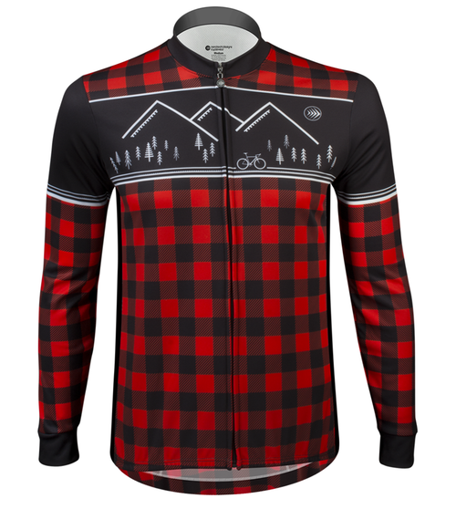 80ca40a8d ... Aero Tech Long Sleeve Brushed Fleece Lumberjack Cycling Sprint Jersey  Red Front View ...