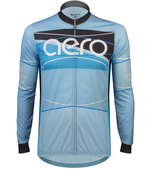 cbfff5f9a5a Aero Tech TALL Men s Long Sleeve Sprint Jersey - Ice Detour - Brushed  Fleece Warm Cycling Jersey