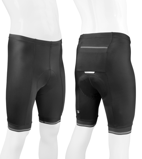 Aero Tech Men's Voyager Padded Cycling Shorts Front and Back View