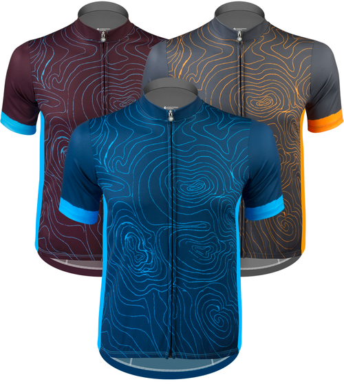 Aero Tech Sprint Jersey - Topo - Elevation Map Cycling Jersey in 3 Colors 8da0dd92b
