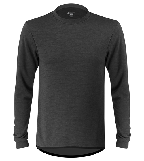 939123976 Aero Tech Men's Merino Wool Base Layer in Charcoal Front View