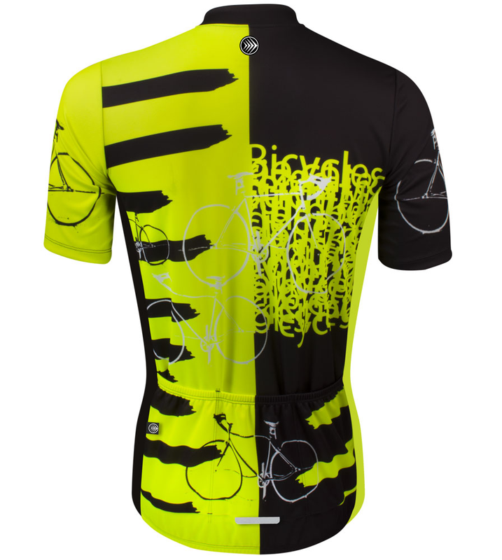 ... Tall Men s Sprint Jersey Expressions Safety Yellow Cycling Jersey Made  in USA Back ... bfe6fba6f