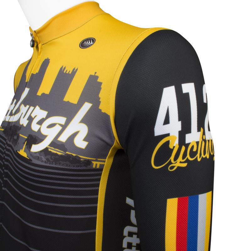 ... Aero Tech Fitness Long Sleeve Jersey - Pittsburgh Theme - Long Sleeve Bike  Jersey - Made ... be7c51efe
