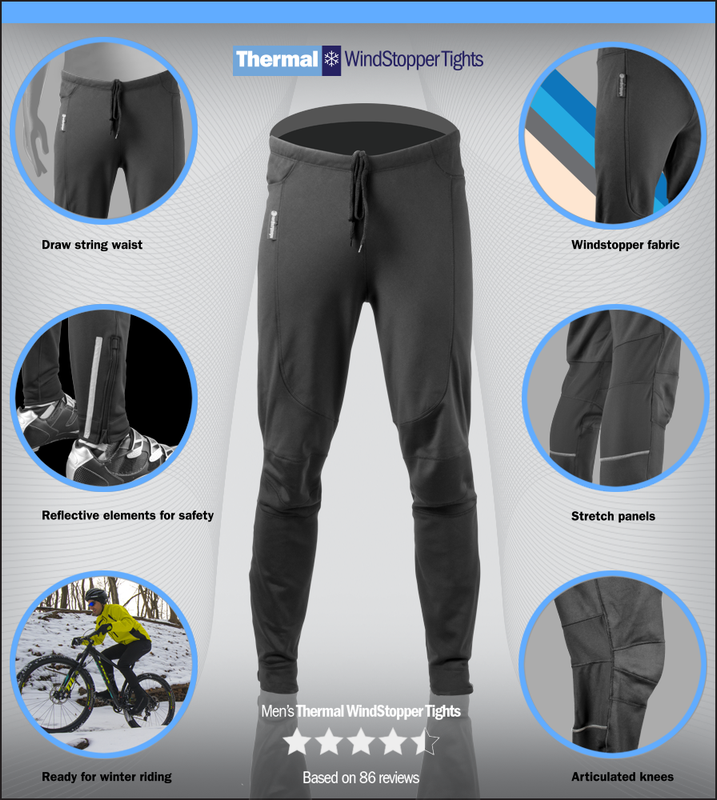Turbovera Winter Mens Cycling Trousers Fleece Thermal Windproof Trousers Pants for Outdoor and Multi Sports