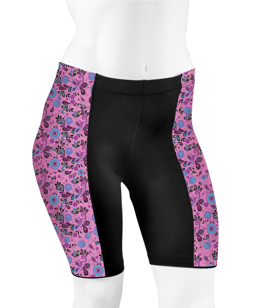 e6551c05ba2 Aero Tech PLUS SIZE Women s Gina PADDED Cycling Shorts - Pink Paisley -  Made in USA