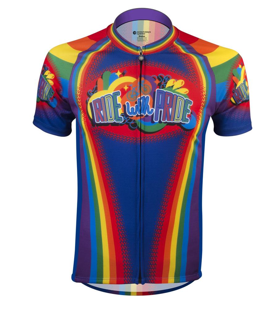 Aero Tech Men s Peloton Jersey - Ride with Pride - Rainbow Cycling Jersey 1121ec418