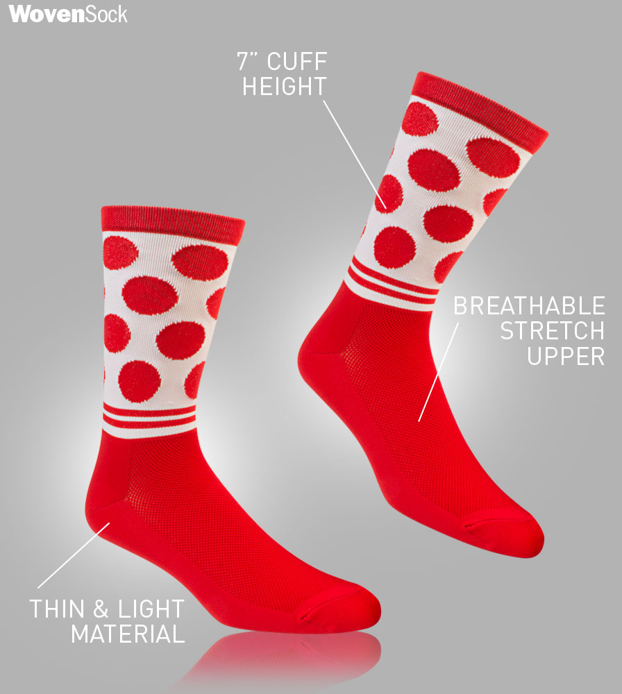 Woven Dot Cycling Sock Features