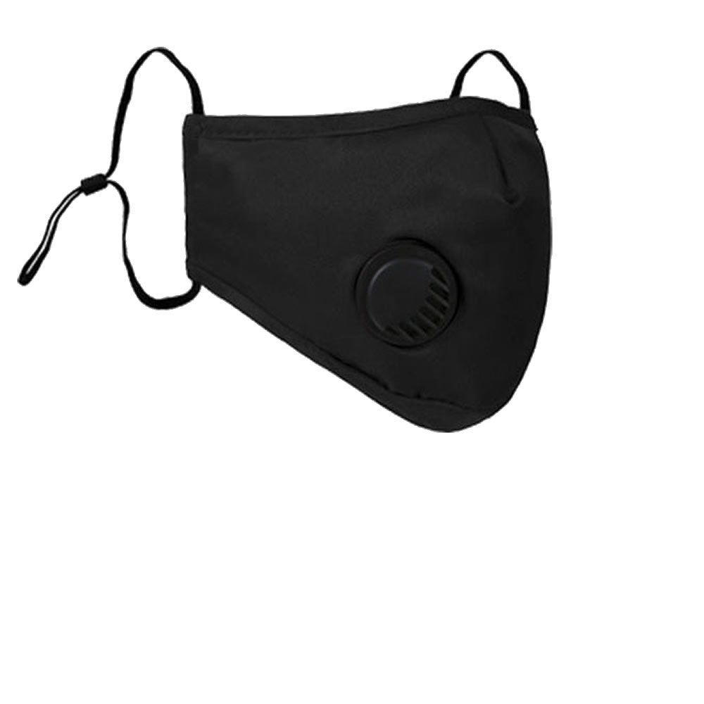 black face mask cotton with breathing button
