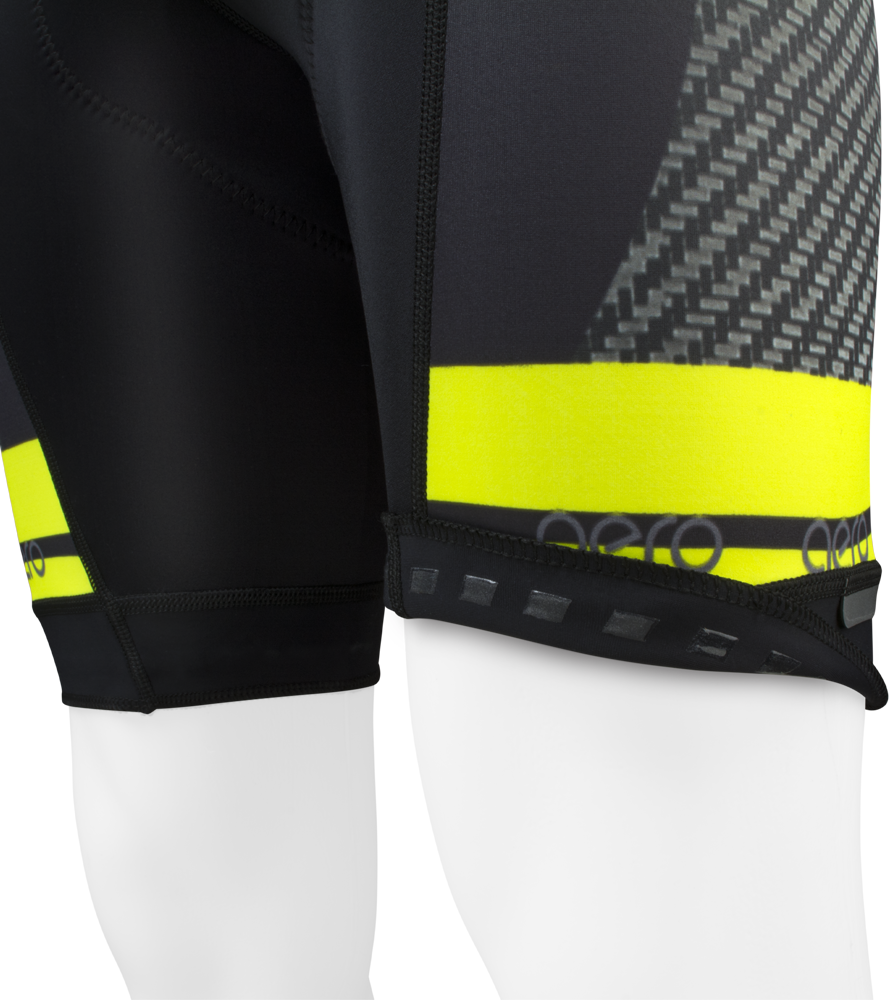 Men's Premiere Advance Carbon Safety Yellow Bib-Short Leg Gripper Detail