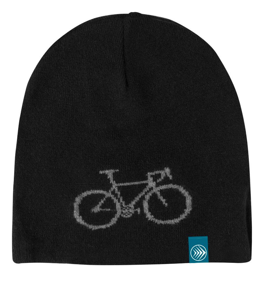 Black Bike Adventure Beanie Flat